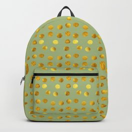 Gold polka dots green Backpack