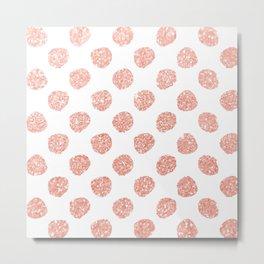 Faux Glitter Baby Pink Polka Dots Metal Print