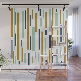 Interrupted Lines Mid-Century Modern Minimalist Pattern in Blue, Mint, and Golden Mustard Wall Mural