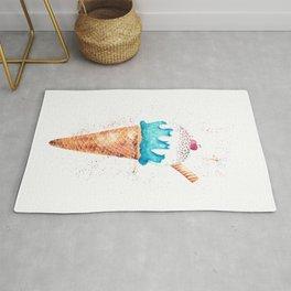 Ice Cream Cone Watercolor Art Illustration Rug