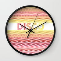 disco Wall Clocks featuring Disco by Gaba Blua