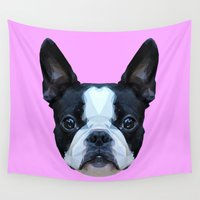 boston terrier Wall Tapestries featuring Frenchie / Boston Terrier // Lilac by peachandguava