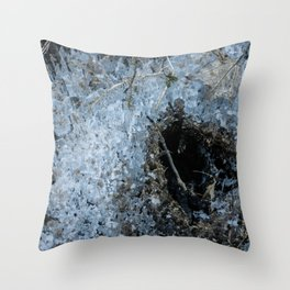 Icy Footprints Throw Pillow