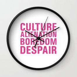 Culture Alienation Boredom Despair - hot pink glitters Wall Clock
