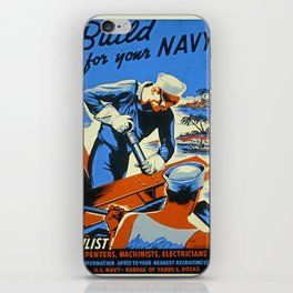 Vintage WW2 Navy poster iPhone Skin