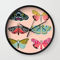 study Wall Clocks featuring Lepidoptery No. 1 by Andrea Lauren  by Andrea Lauren Design