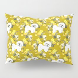 Bichon Frise on Yellow Rose Floral Autumn Gold Pillow Sham