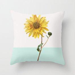Sunflower Mid Century Modern Retro Botanical Yellow Flower Vintage Throw Pillow