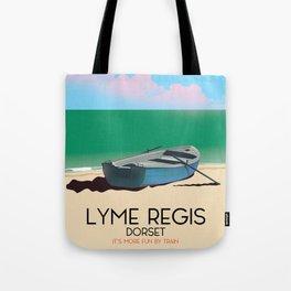 """Lyme Regis,Dorset """"it's more fun by train"""" Tote Bag"""