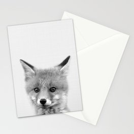 Black and white Fox print, Fox wall art, Nursery decor, Animal art, Baby animal prints Stationery Cards
