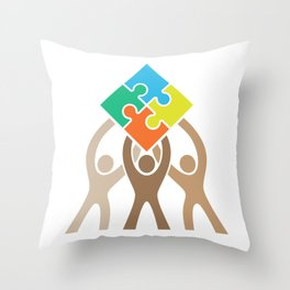 Teamwork and Unity Jigsaw Puzzle Logo Throw Pillow