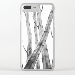 Birch Tree | Watercolour | Painting | black-and-white | Black and White | Minimalism Clear iPhone Case