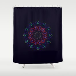 Bird and Flower Mandala in Black Shower Curtain