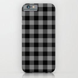 Gray and Black Lumberjack Buffalo Plaid Fabric iPhone Case
