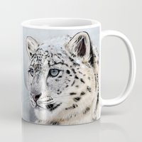 snow leopard Mugs featuring Snow Leopard by Aaron Jason