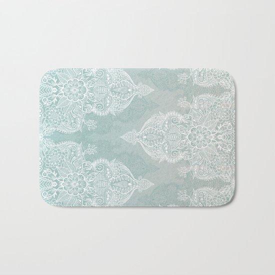 Lace & Shadows - soft sage grey & white Moroccan doodle Bath Mat