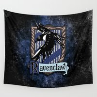 ravenclaw Wall Tapestries featuring Ravenclaw team flag emblem iPhone 4 4s 5 5c, ipod, ipad, pillow case, tshirt and mugs by Three Second
