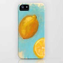 Light Blue and Lemons iPhone Case