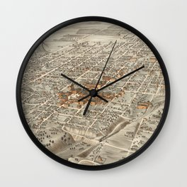 Vintage Pictorial Map of Decatur Illinois (1878) Wall Clock