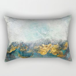 Lapis - Contemporary Abstract Textured Floral Rectangular Pillow
