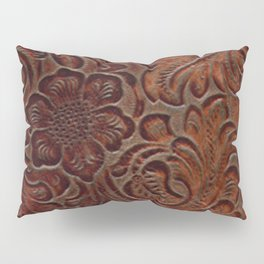 Burnished Rich Brown Tooled Leather Pillow Sham