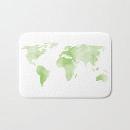 World Map Light Green Planet Bath Mat