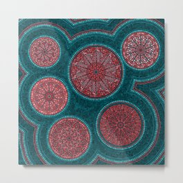 Dot Art Circles Abstract Living coral and teal Metal Print
