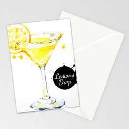 Watercolor Lemon Drops Stationery Cards