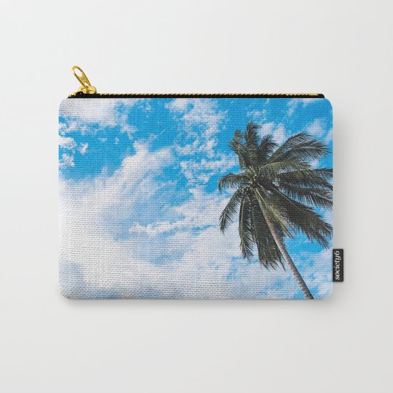 Palm Tree under Blue and White Carry-All Pouch