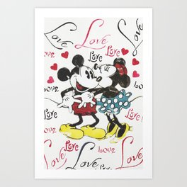 Mickey and Minnie in love Art Print