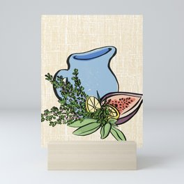 Pitcher and Herbs on Linen Mini Art Print