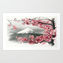 Mount Fuji and Cherry Blossoms Art Print