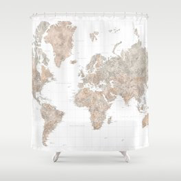 """Highly detailed watercolor world map, taupe and grey, """"Abey"""" Shower Curtain"""