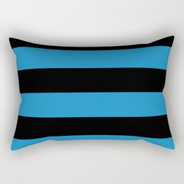 Ocean Blue and Black Stripes | Horizontal Large Stripes Rectangular Pillow