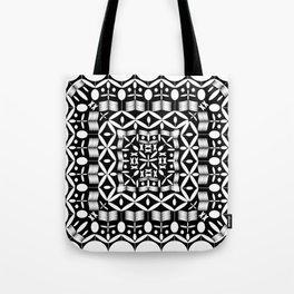 Mandala Square Black & White Tote Bag