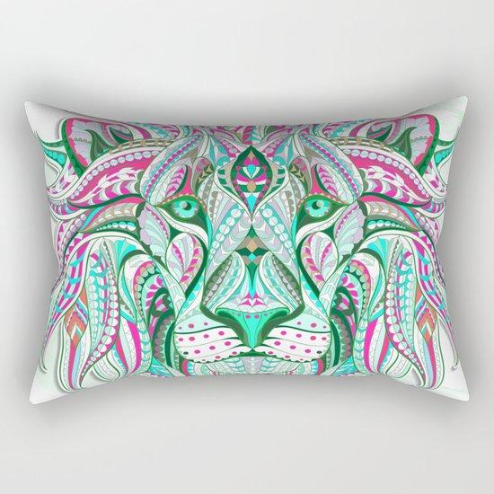 Sea Green Ethnic Lion Rectangular Pillow