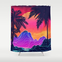 Neon glowing grid rocks and palm trees, futuristic landscape design Shower Curtain