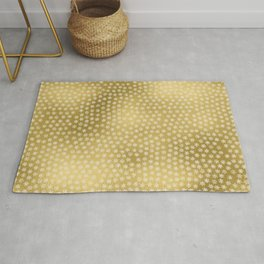 Merry christmas- white winter stars on gold pattern Rug