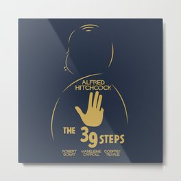 The 39 steps, Alfred Hitchcock, minimal movie poster, english film, b&w alternative affiche, cinema Metal Print