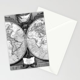 Black and White World Map (1808) Stationery Cards