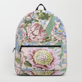 Vintage & Shabby Chic Floral Peony and Iris Flowers Watercolor Pattern Backpack