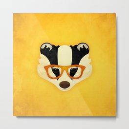 Hipster Badger: Gold Metal Print