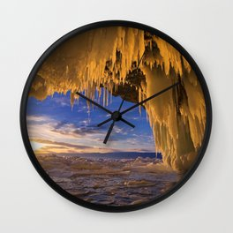 Russia Lake Winter Sunrise sunset Baikal Ice Nature frozen Wall Clock