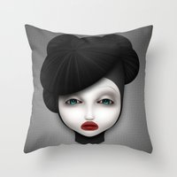 misfits Throw Pillows featuring Misfit - McQueen by Raymond Sepulveda