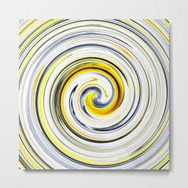 Yellow And Black Funky Swirl Metal Print