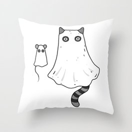 Cat Ghost & Mouse Ghost – Nightmare Throw Pillow