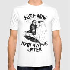Surf Now, Apocalypse Later MEDIUM White Mens Fitted Tee