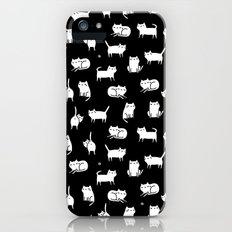White cats on black iPhone SE Slim Case