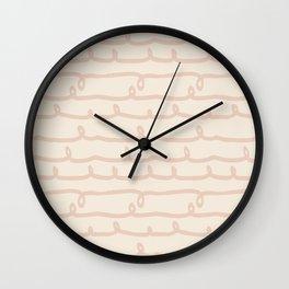 Vine Stripes Vintage Pink on Rose Petal Cream Wall Clock