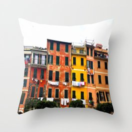 Cinque Terre - Colorful Buildings in Monterosso Throw Pillow